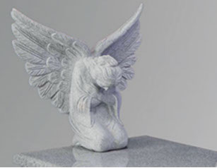 Stone carving of angel